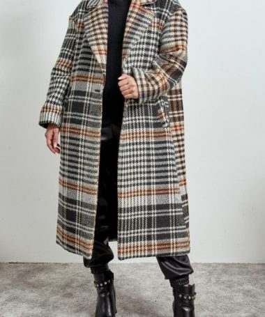 Long Check Oversize Coat