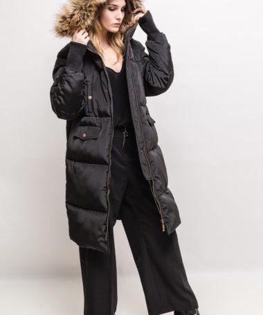 Long Padded Hooded Jacket