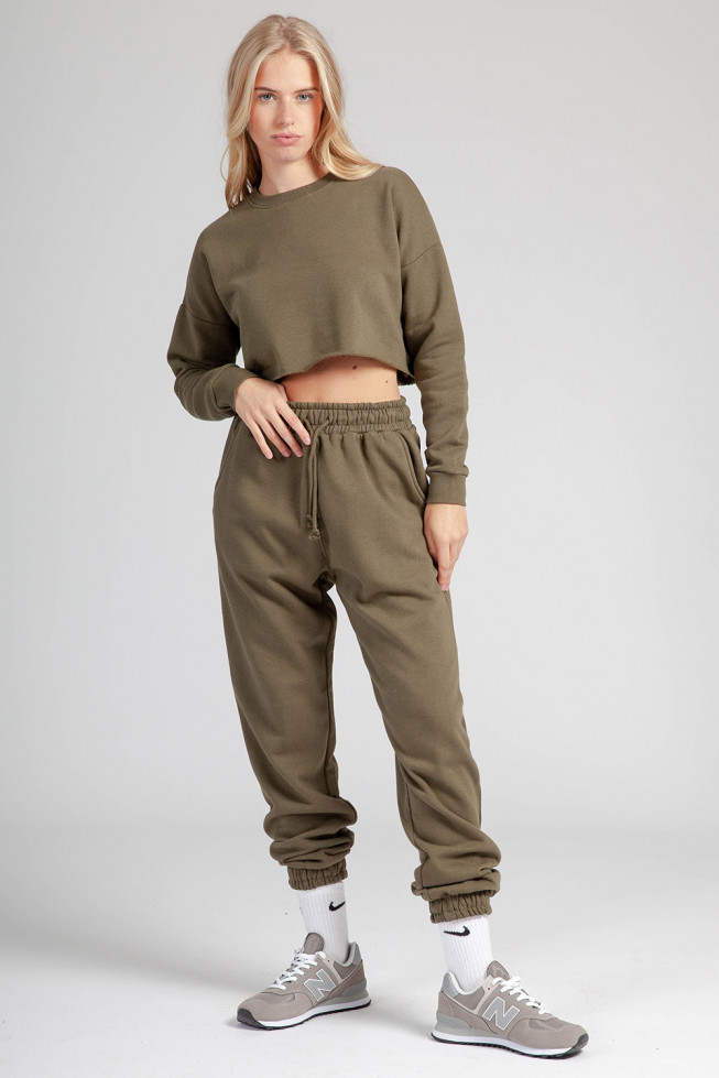 Khaki Fleece Oversize Jogging Set