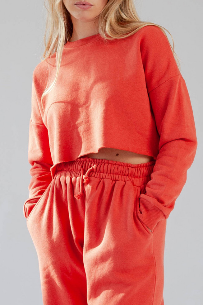 Red Fleece Cropped Sweater