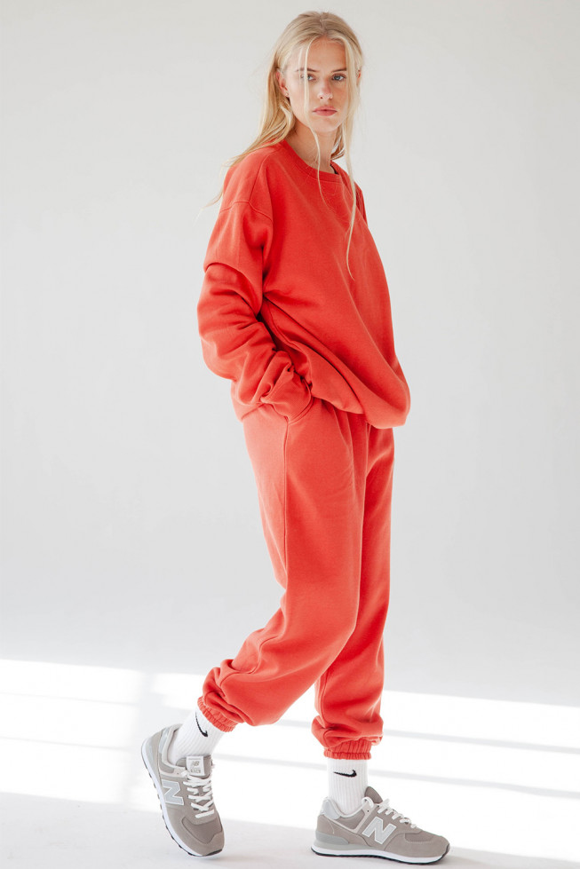 Red Fleece Oversize Jogging Set