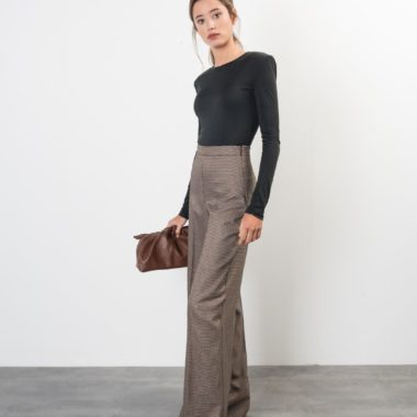 High Waist Houndstooth Wide Leg Trousers