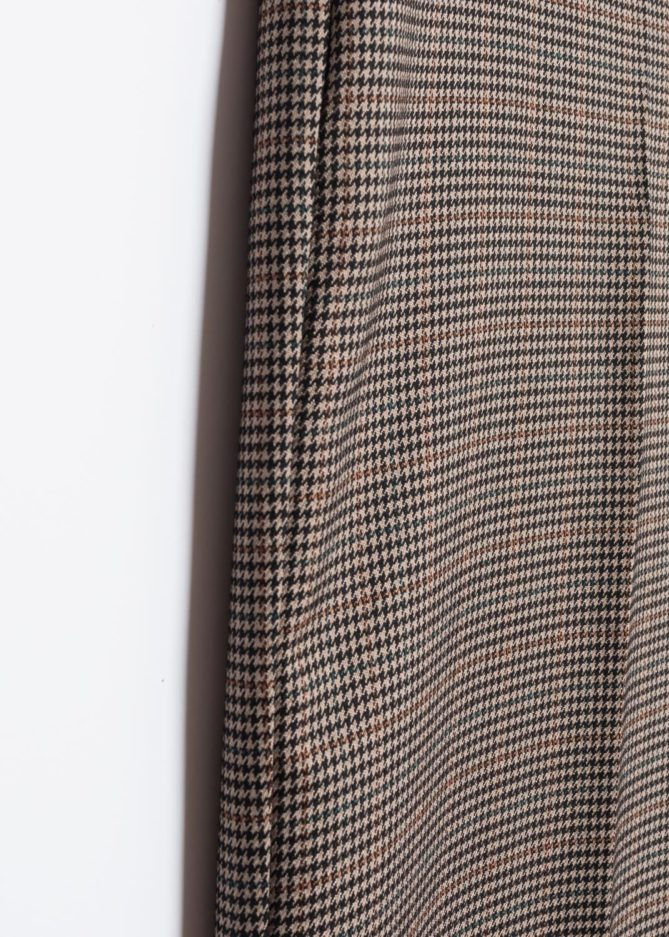 Brown High Waist Houndstooth Trousers