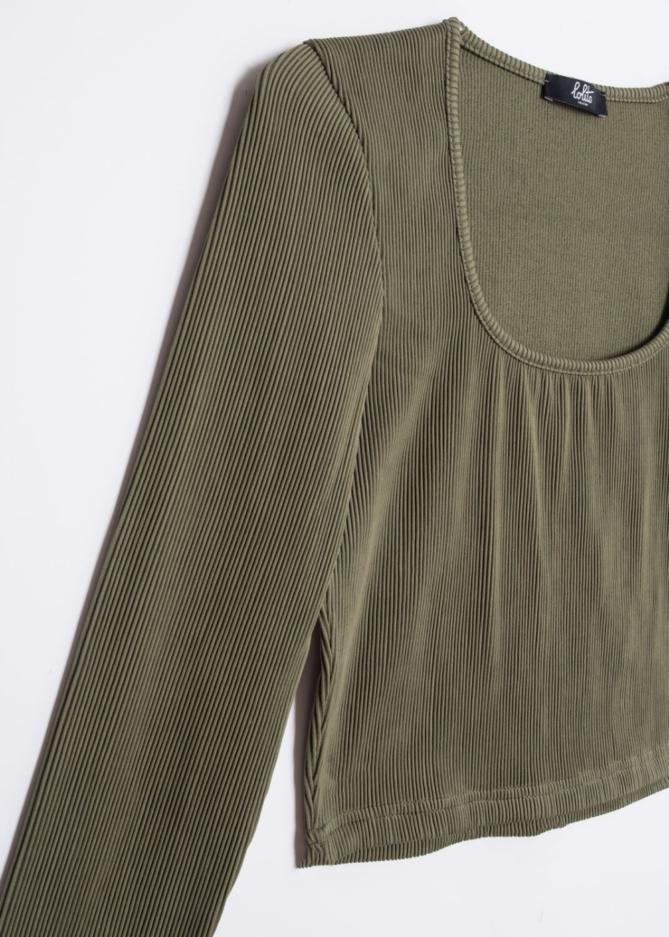 Khaki Long Sleeve Ribbed Crop Top