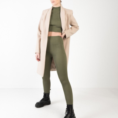 Ribbed Leggings – Khaki