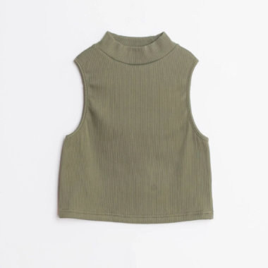 Ribbed Turtleneck Crop Top – Khaki