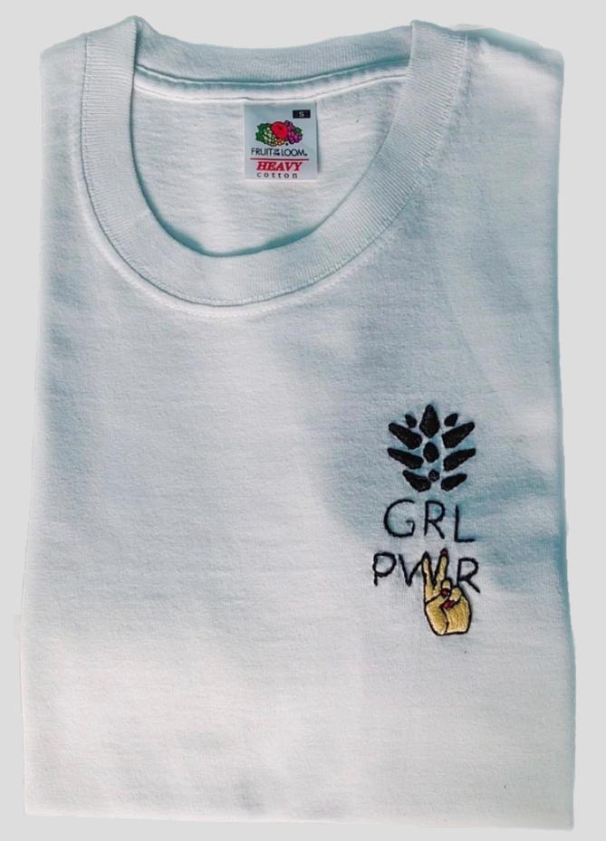 White GRL PWR tshirt