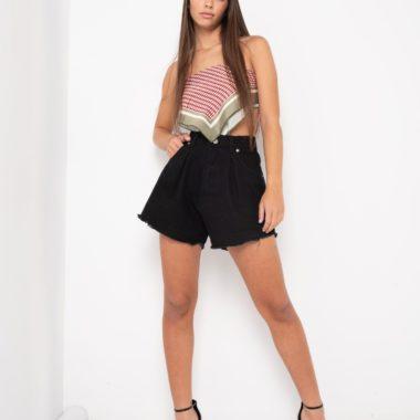 Darted Denim Shorts – Black