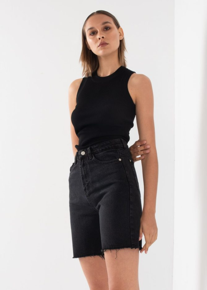 Black Bermuda Jeans Shorts