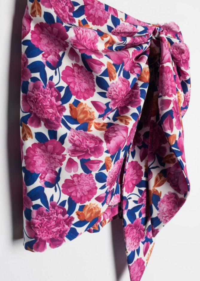 Pink Floral Ruched Mini Skirt