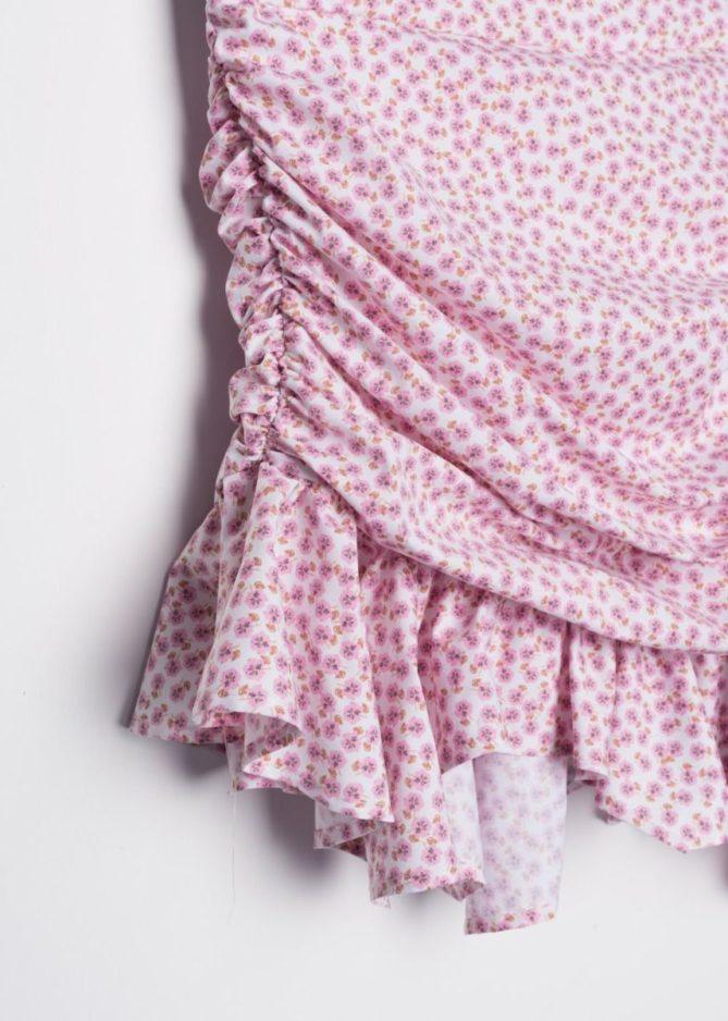 Pink Ruched Floral Print Mini Dress