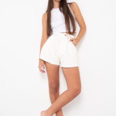 Darted Denim Shorts – White