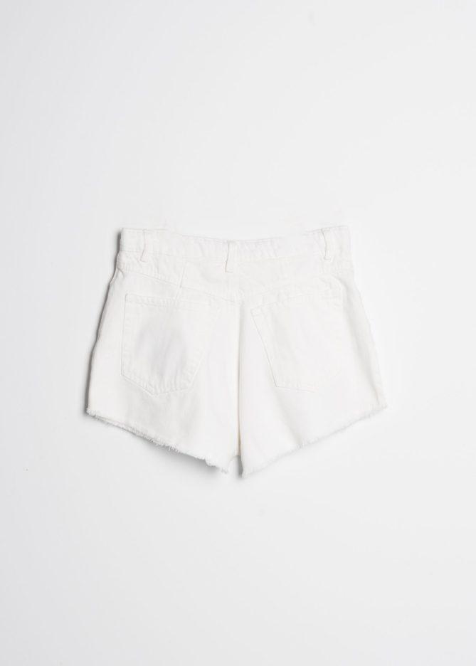 White Darted Shorts