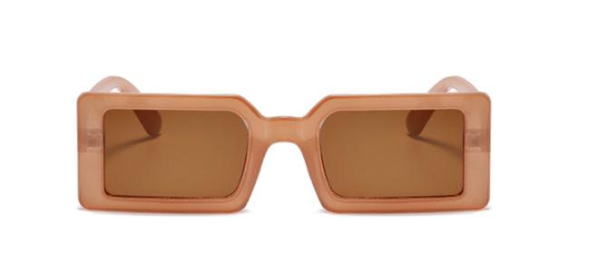 Brown Rectangular Frame Sunglasses