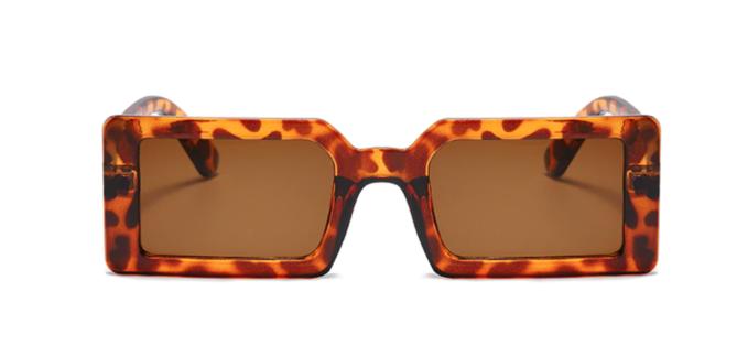 Leopard Print Rectangular Frame Sunglasses