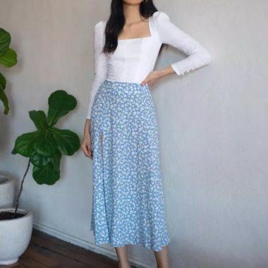 Floral Slit Midi Skirt