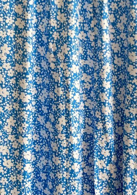 Blue Floral Print Slit Midi Skirt