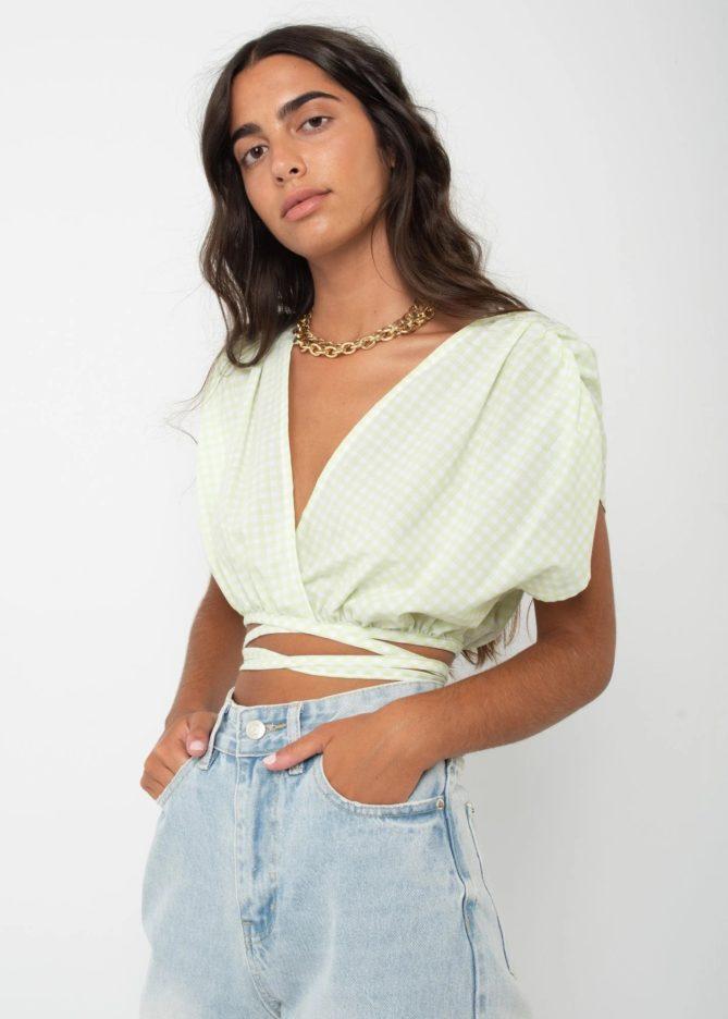 Green Check Wrap Top