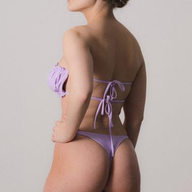 Ruched Bandeau Bikini – Purple