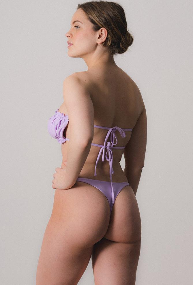 Purple Ruched Bandeau Bikini