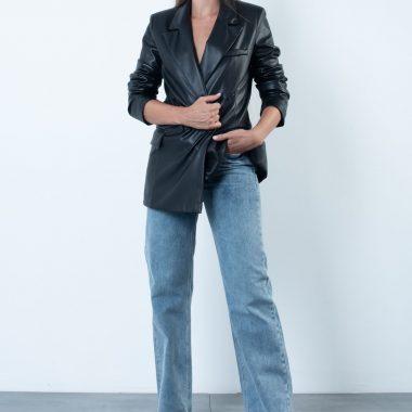 Oversize Faux Leather Blazer