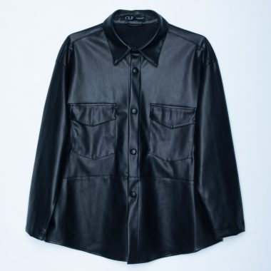 Faux Leather Boyfriend Shirt