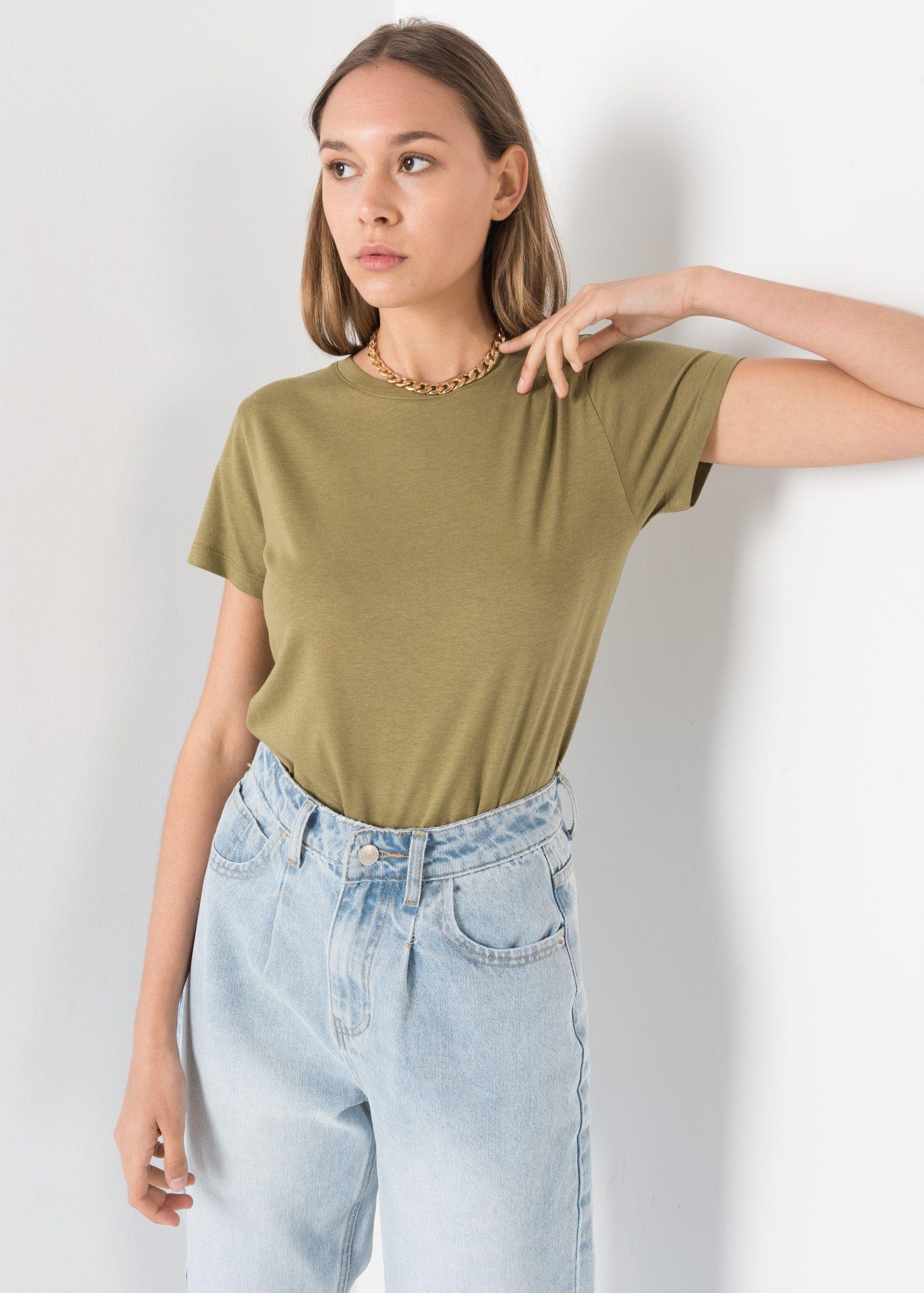 Khaki Round Neck T-shirt