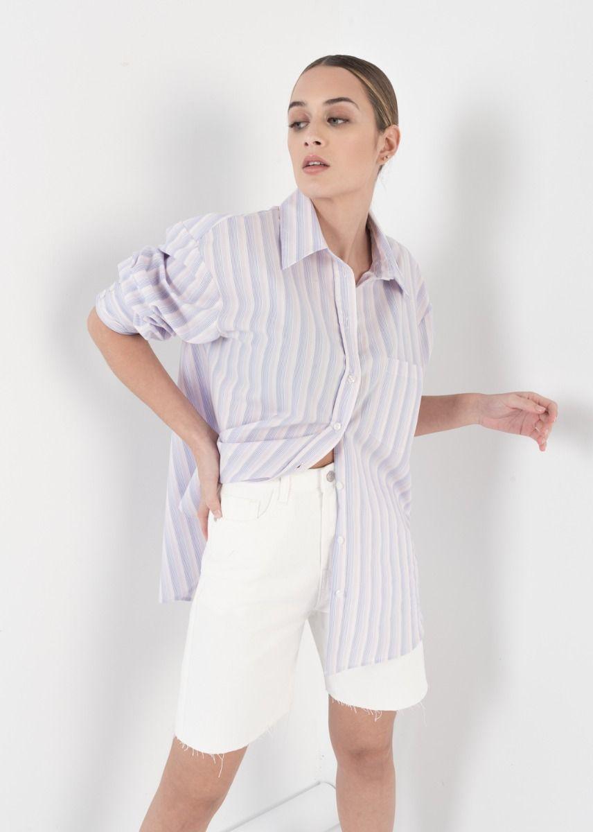 Purple Striped Boyfriend Shirt