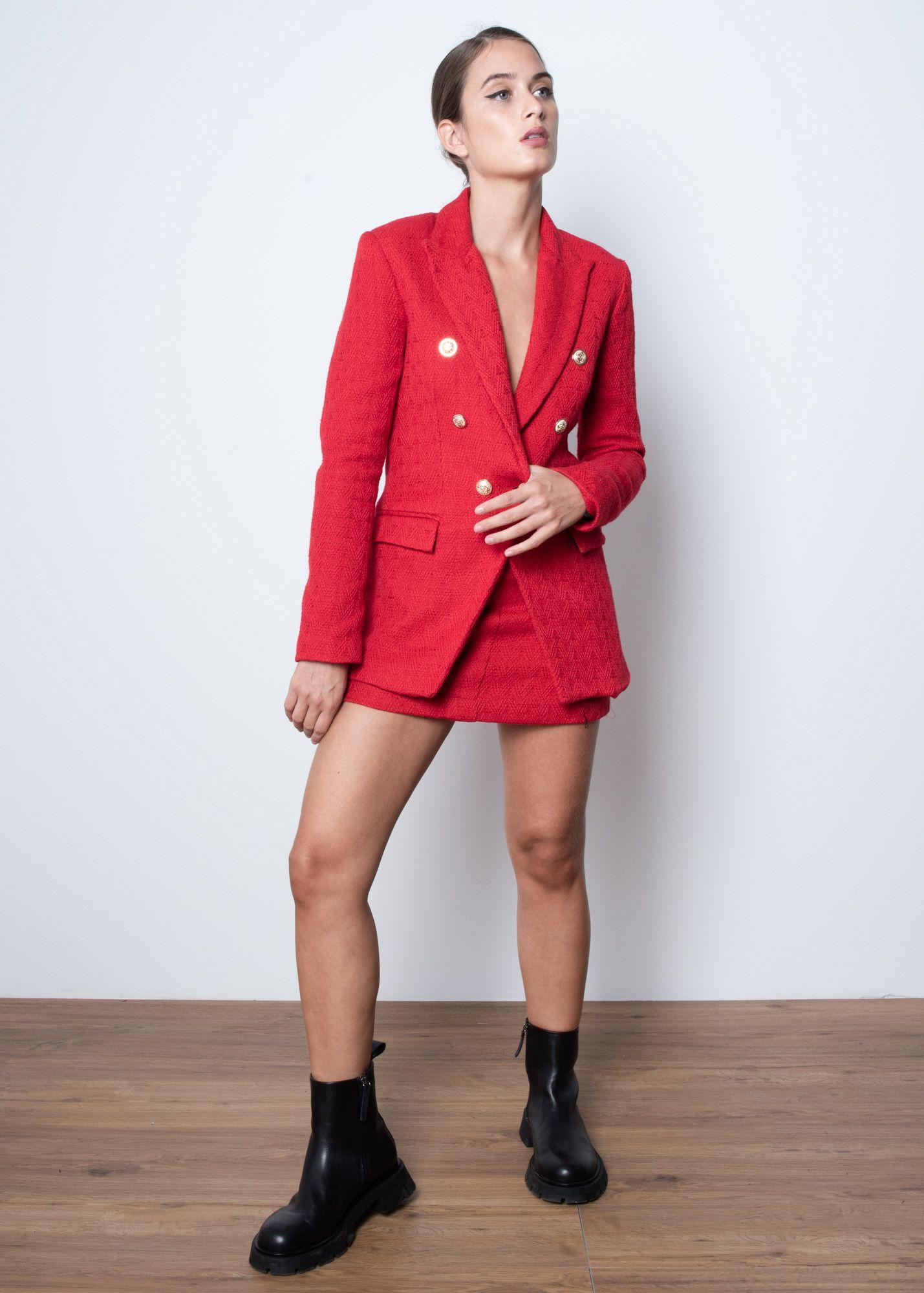 Red Tweed Mini Skirt